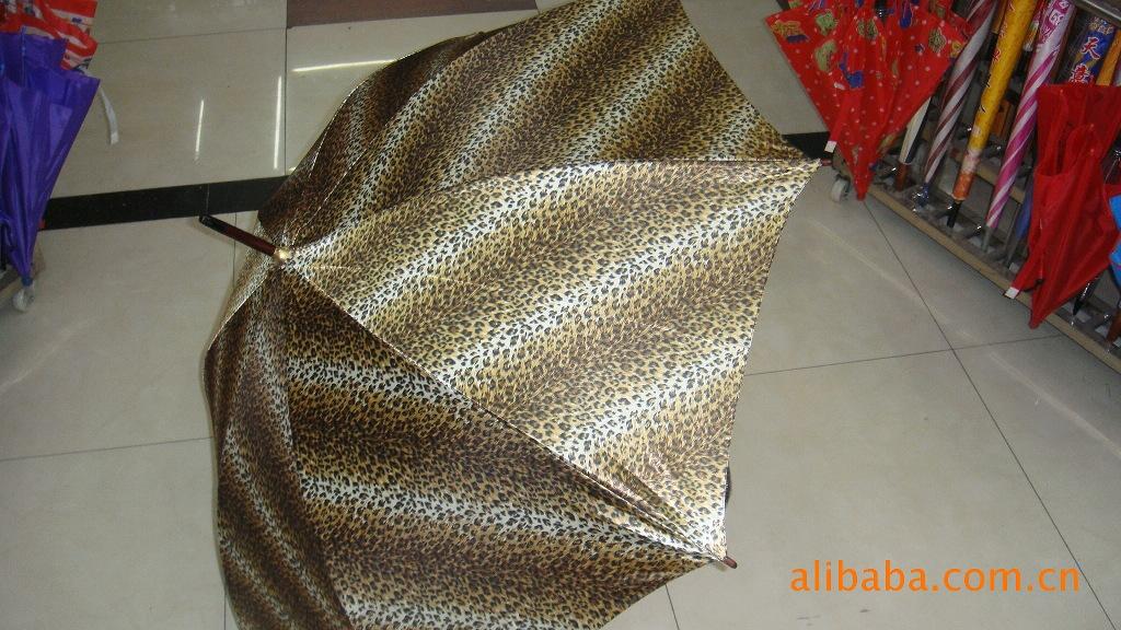 豹纹木中棒自动雨伞