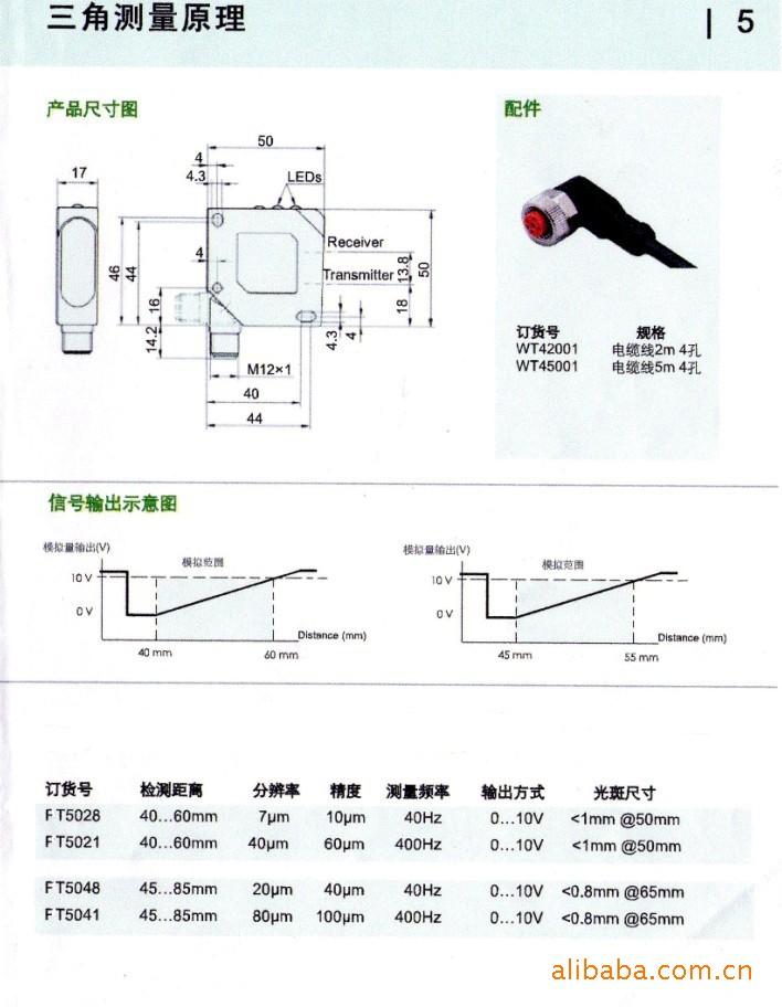 德国进口FT5070F激光位移传感器精度0.14毫米量程70毫米