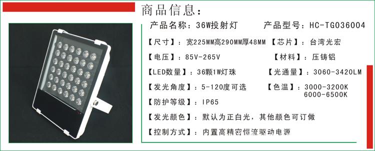 【海阁拉斯 【新款】 36W LED投射灯 投光灯
