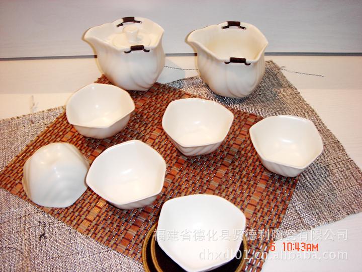 8件套茶具 苹果亚光绿象牙白四角组 精品整套茶具 功夫普洱