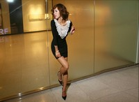 155 new arrival lace collar long sleeve slim women sexy dress black hot sale free shipping
