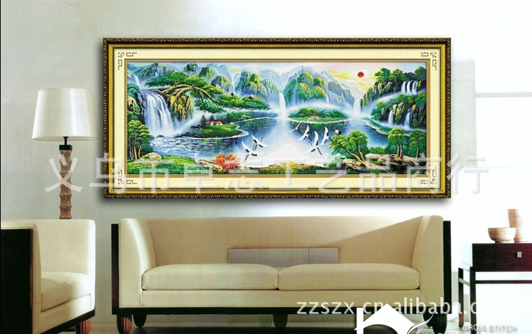 室 蒙帝奇精准印花十字绣,鹤舞松峰人间仙境,新款客厅壁画 -价