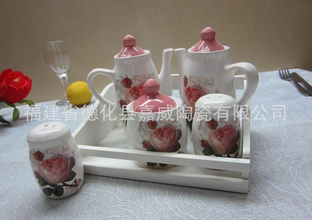 供應陶瓷廚房用具 粉玫瑰5件套調味組合 胡椒椒鹽油醋瓶