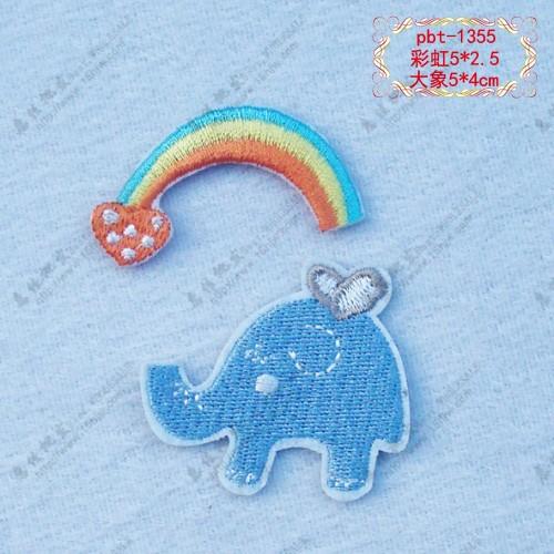 【电源直销补丁背胶组合布贴外壳贴彩虹贴熨环保移动大象厂家图片