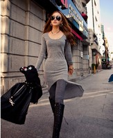 Hot Sale New style 2012 women fashion long-sleeve o-neck Tight sexy party Pub clothing dovetail one-piece dress 2Colors 73891