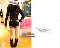 Free shipping Fashion 2012 slim long-sleeve medium solid color wool coat button decoration outerwear