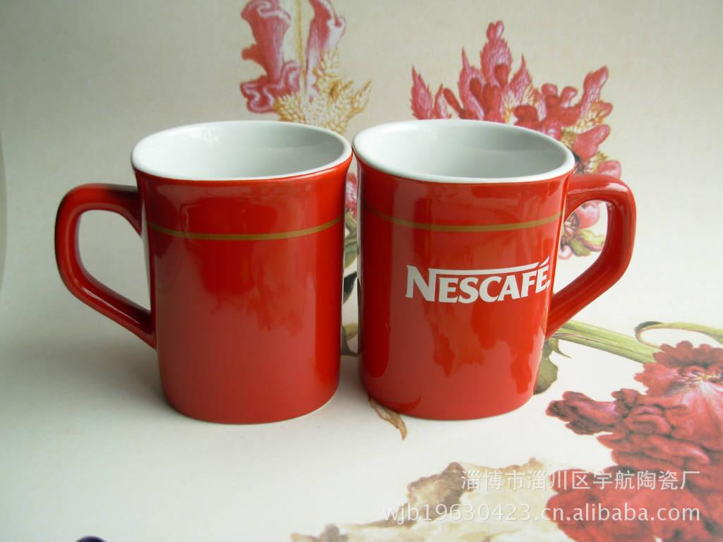供应红釉雀巢方杯 雀巢咖啡杯 雀巢陶瓷杯