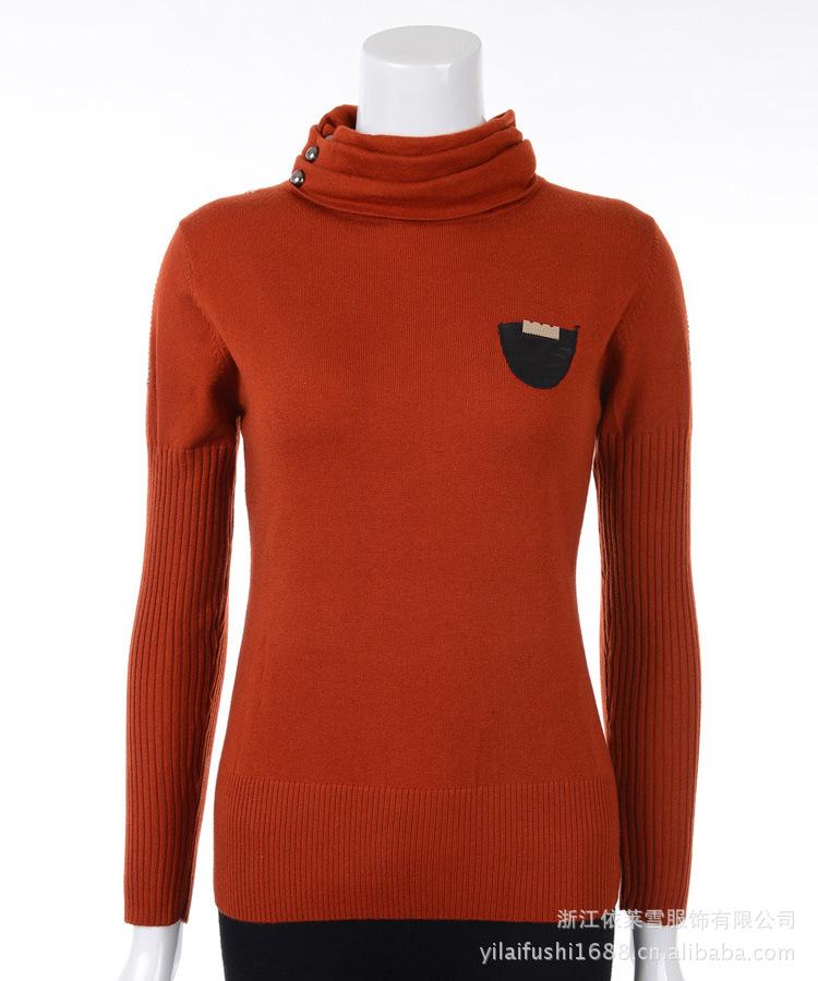 2012秋冬新款圆领高领羊绒衫女士纯色短款毛