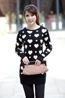 2012 women's love o/neck medium/long thickening knitted sweater Free shipping