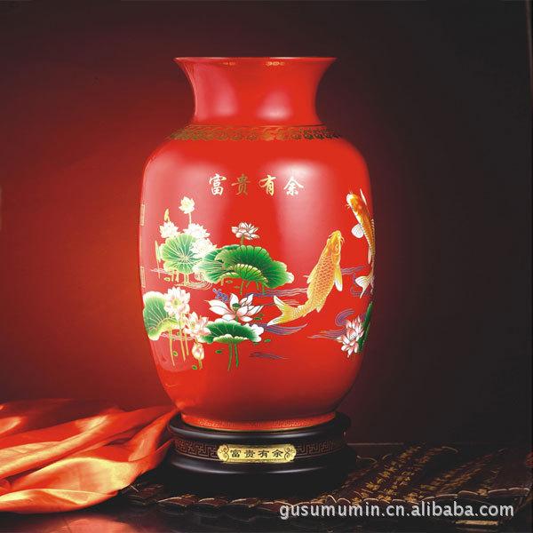 深圳和瓷厂家直销 陶瓷工艺花瓶批发定制 中国红瓷富贵有...