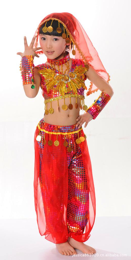 Girls kids belly latin arabian party costume dance dress harem glove