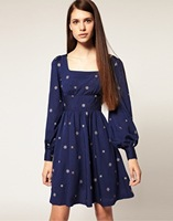 Женское платье 2012 autumn fashion asos butterfly sleeve embroidered vintage high waist one-piece dress