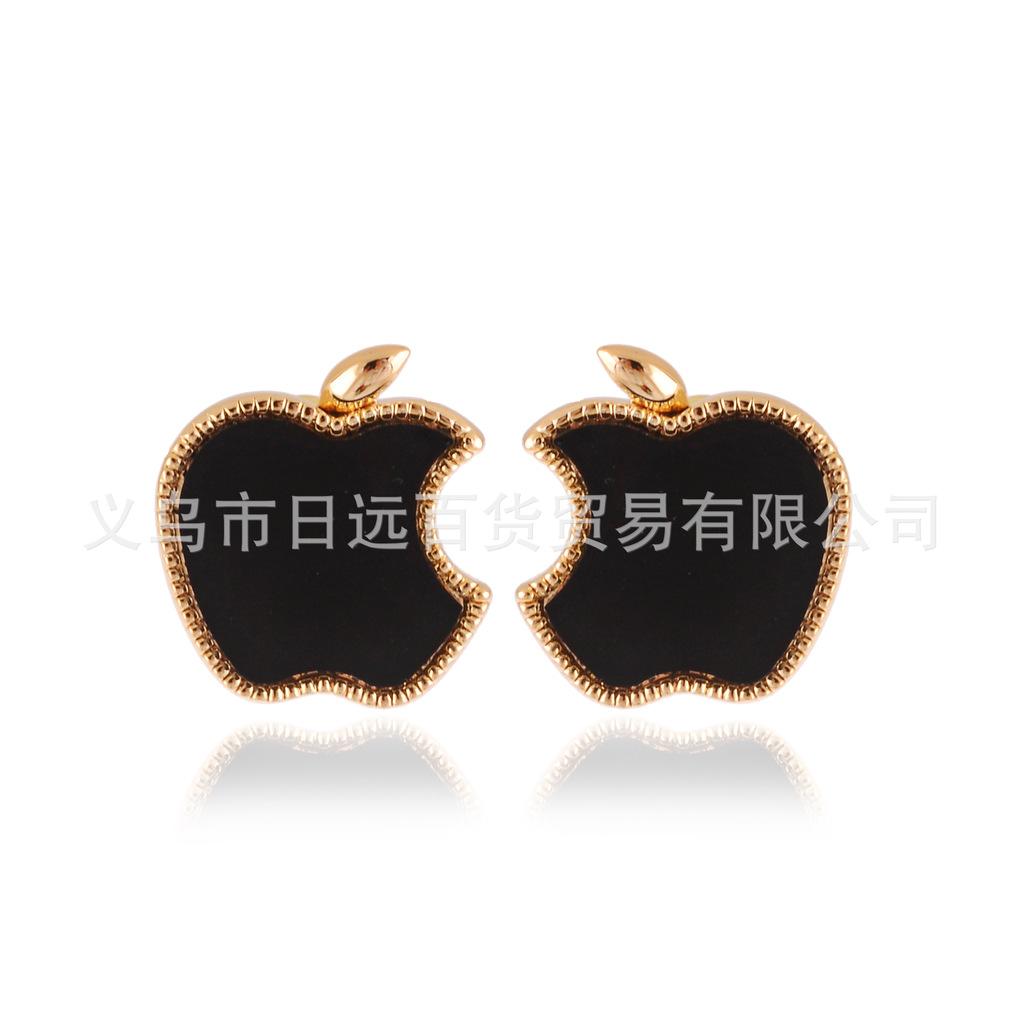 日韩流行外贸饰品 彩釉滴油多色苹果不对称耳钉耳饰