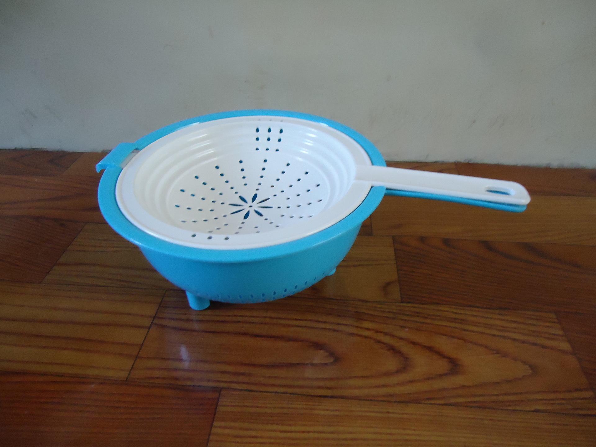 【新品上市塑料蕾丝滴水箩伸缩短袖篮双层洗欧洲站镶钻沥水厨房图片