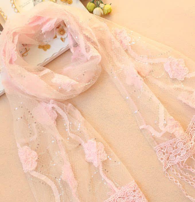 2013韩版时尚女士立体花丝巾超长巾 亮片蕾丝花朵披肩 围巾 图片_9