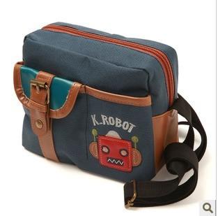 韩国正品 儿童单肩包 新款帆布包 宝宝机器人书包 手拎包 12221