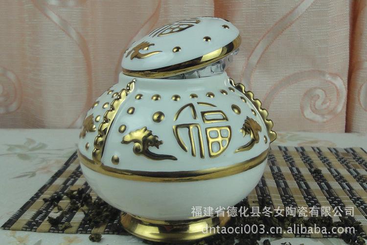 批发采购陶瓷工艺品 个性茶叶罐 福字 高白钛银金药罐 大中小罐批发采