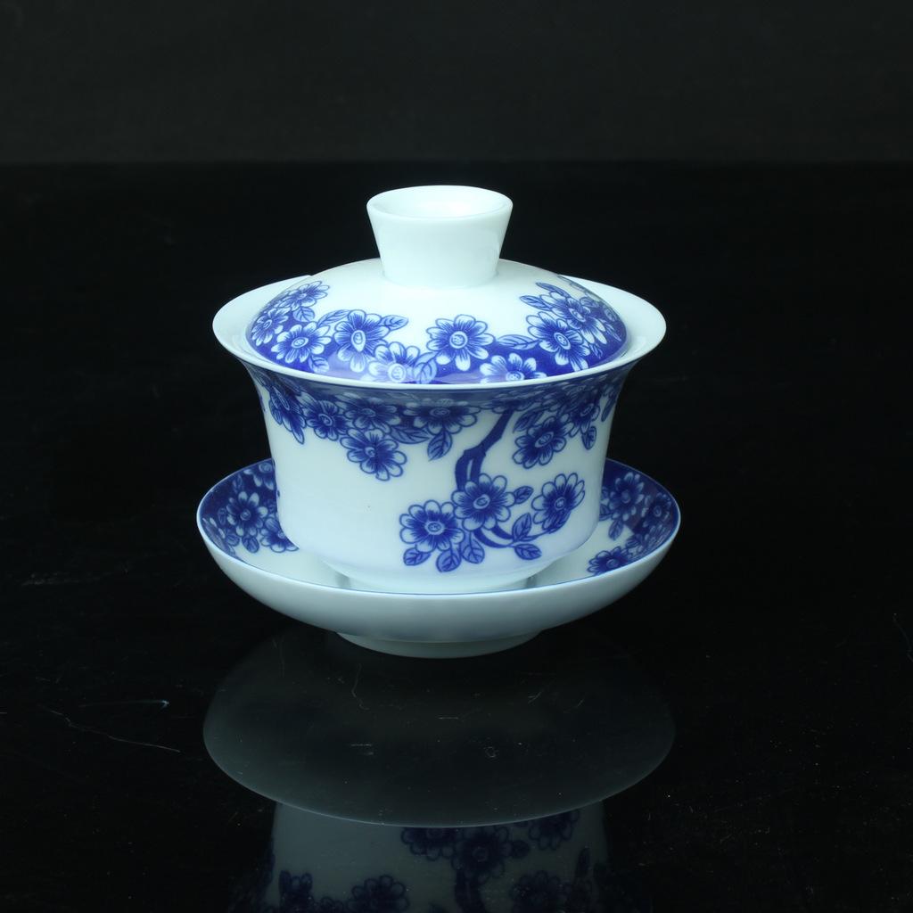 特别推荐 高品质青花釉中盖碗三件茶具 盖碗批发