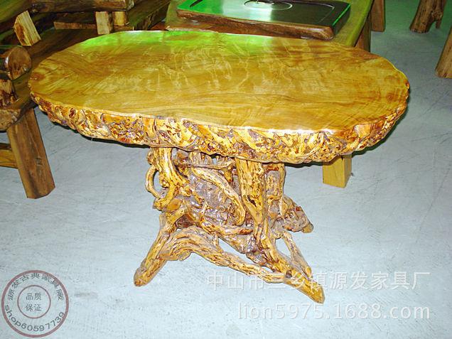 77现货特价 根雕圆茶几 椭圆形 天然根雕艺术品 实木家具 -价格,