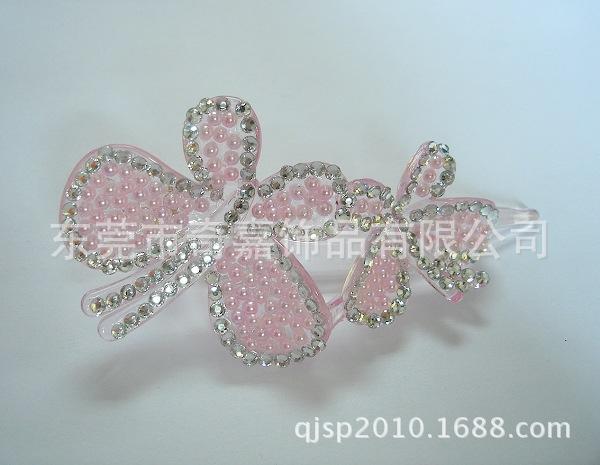 两只小蝴蝶发夹 金属发夹 镶钻发夹 滴油发钗