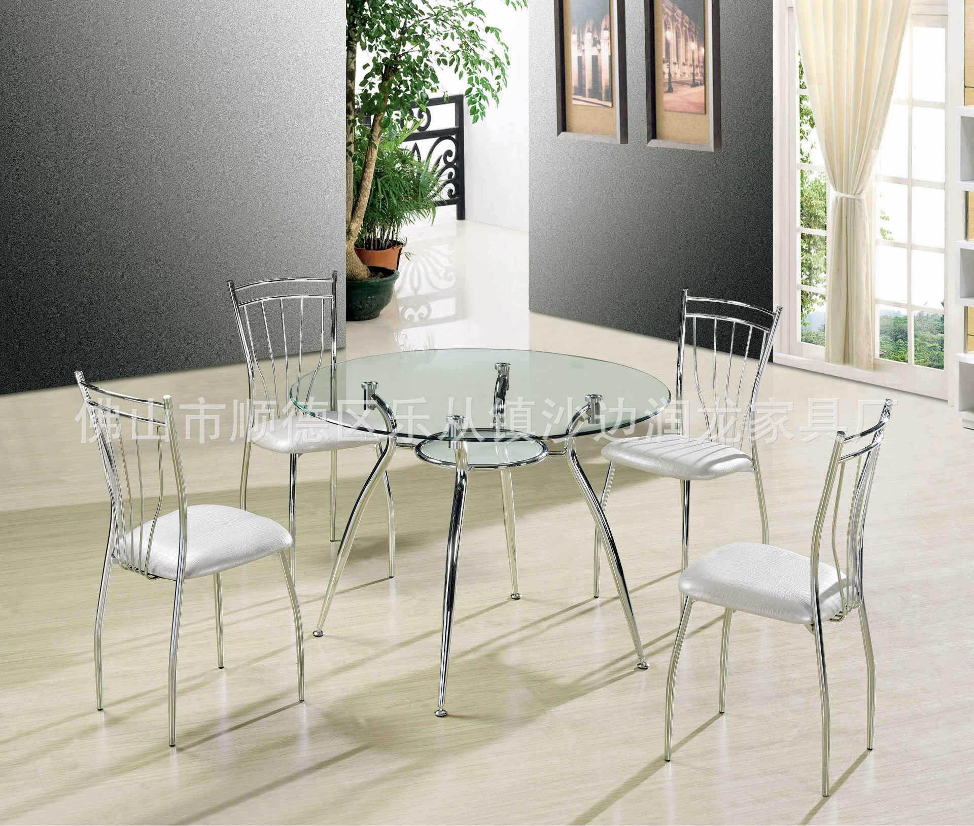 【现代简洁v餐桌餐桌家具钢化玻璃门窗简约电灰色家具图片