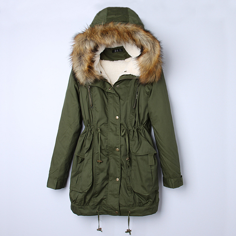 Women's Thick Military Jacket Faux Fur Hood Long Winter Coat ...