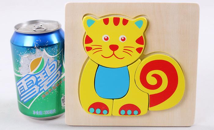 木质立体拼图 木质立体拼图玩具 木制动物积木拼图儿童 幼儿宝宝智力