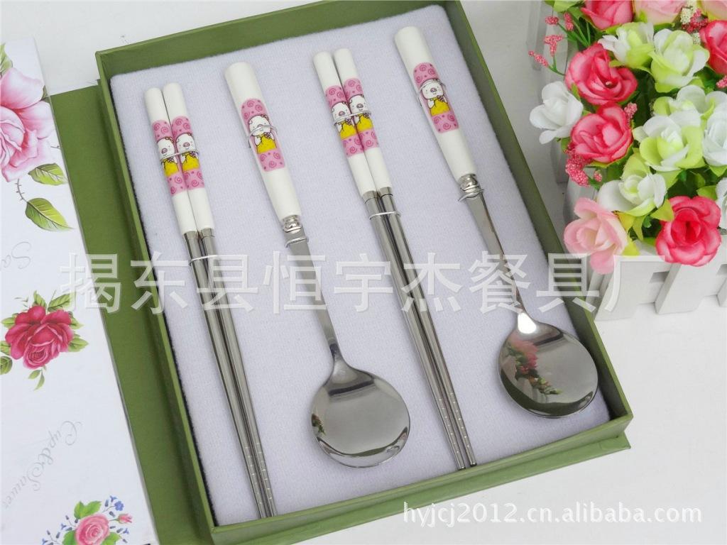 供应韩国精品陶瓷不锈钢餐具 三件套礼品餐具套装 不锈钢餐...