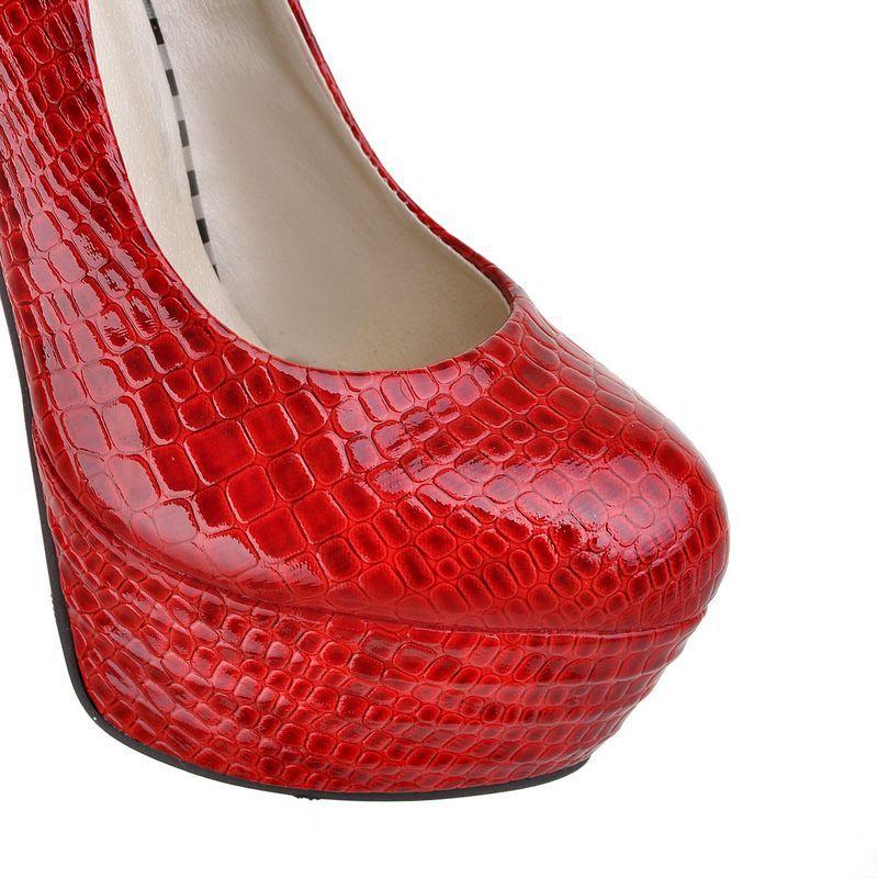 新款 浅口圆头超细高跟防水台单鞋 定做大小码 单鞋尽在阿图片