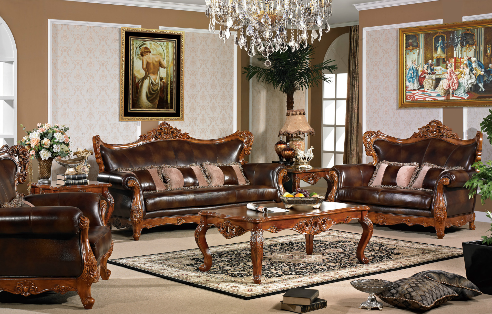 成套家具-〖厂家直销〗美式古典头层真皮沙发钢丝绳车用家具拉线图片