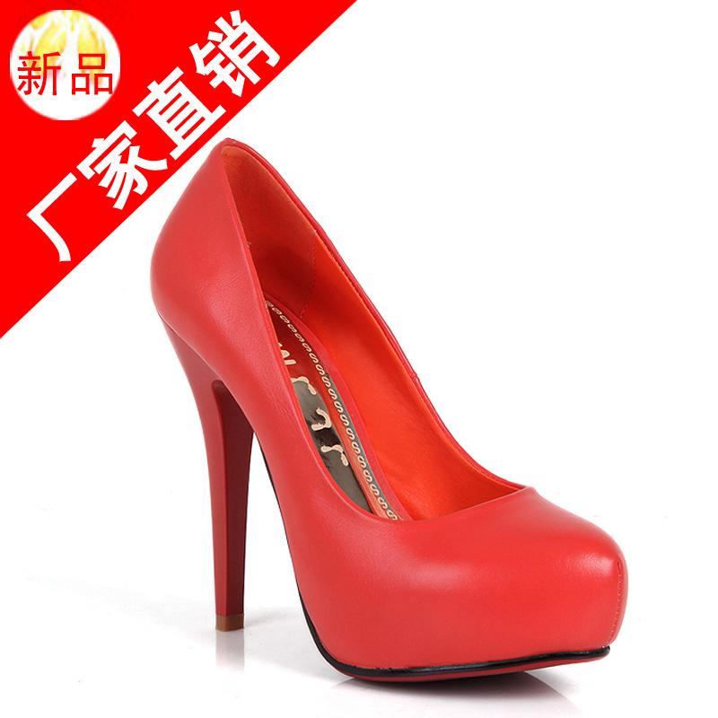 2014春夏新品高跟鞋单鞋防水台时尚女鞋批发红色婚鞋网店代理加盟