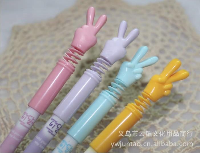 供应时尚韩版可弯曲胜利手指造型中性笔图片,厂家专业供应时尚韩