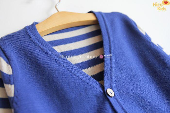 外贸童装 儿童男童条纹V领毛衣开衫 男儿童毛衣G 343A65 -价图片