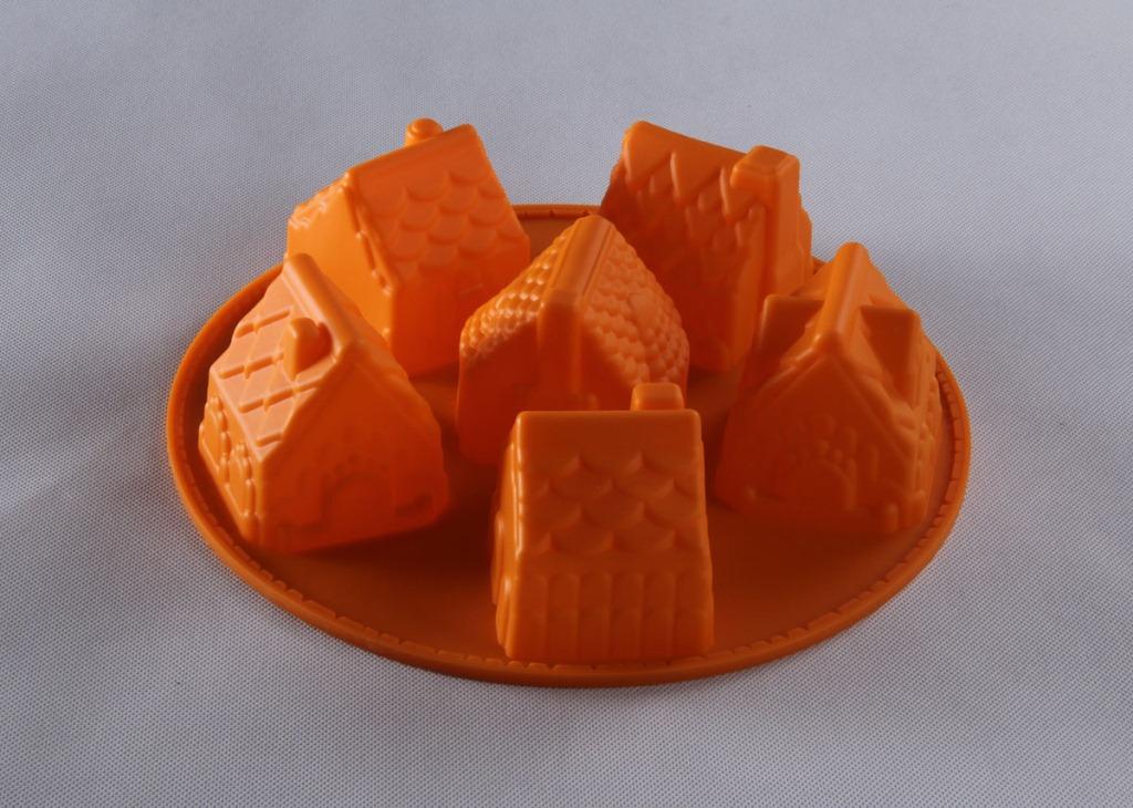 硅胶蛋糕模具 6连小房子造型蛋糕模 6连小房子硅胶冰格蛋糕模具