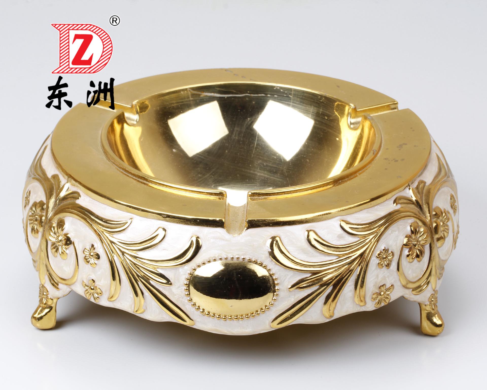 广东 东洲 小号金边珠点烟合金灰缸 奢华欧式复古合金烟灰