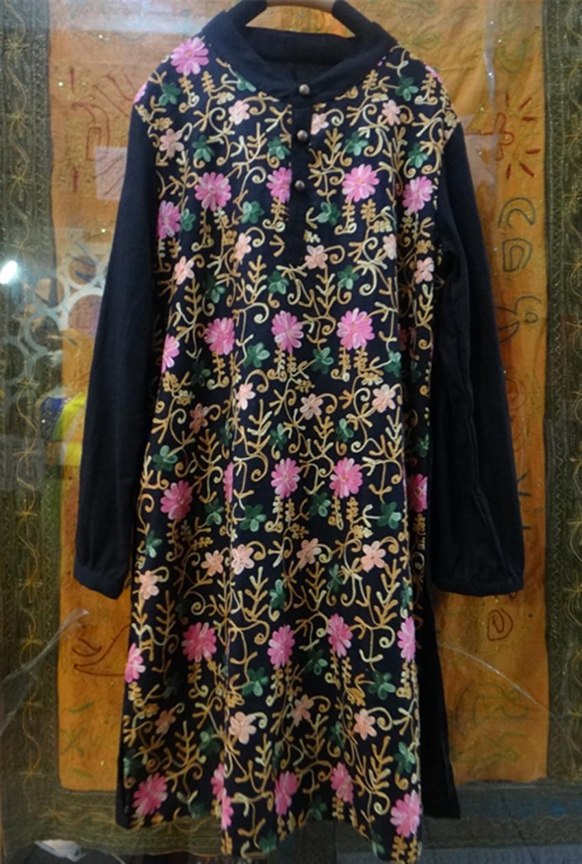 连衣裙2014新款复古刺绣圆领盘扣大码裙子中长款连衣裙长衫袍子