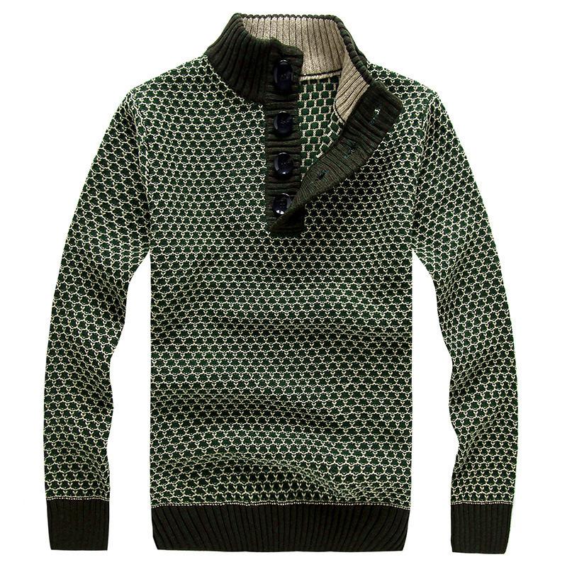2014新款男士长袖羊毛衫 立领加厚毛衣 时尚韩版针织衫棉衣