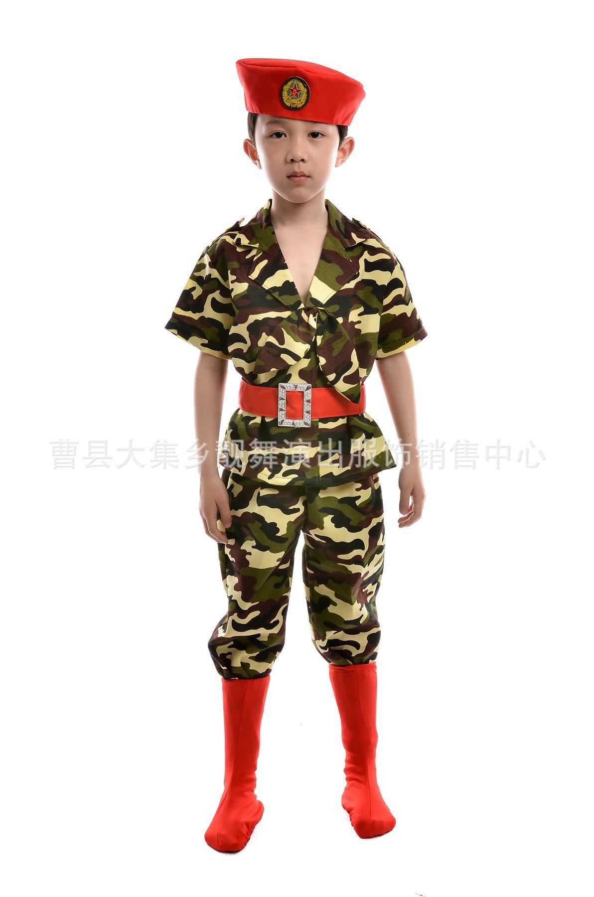 厂家直销~新款儿童迷彩海军服男童舞台演出服六一舞台服现货低价