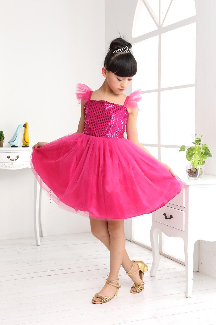 表演服 六一儿童节表演演出裙子亮片连身裙女童跳舞裙舞台服装工厂