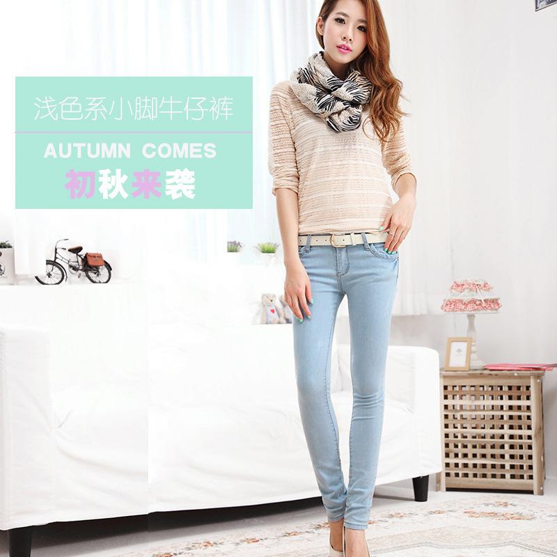 2014韩版水洗浅色潮铅笔裤紧身小脚裤子 图片