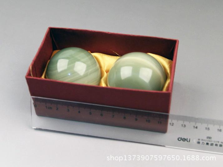 天然玉石手球绿带水糖色玉石健身球中老年人用品厂家直销大量批发