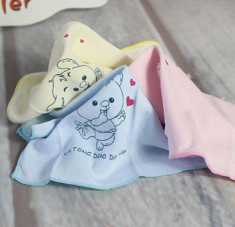 2014新款多朵牛品牌婴儿印花小手帕婴儿喂奶巾3条/套A8024