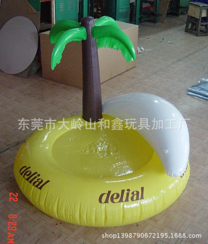 东莞厂家专业定做环保pvc充气椰树靠背浮排,吹气浮排,pvc浮排