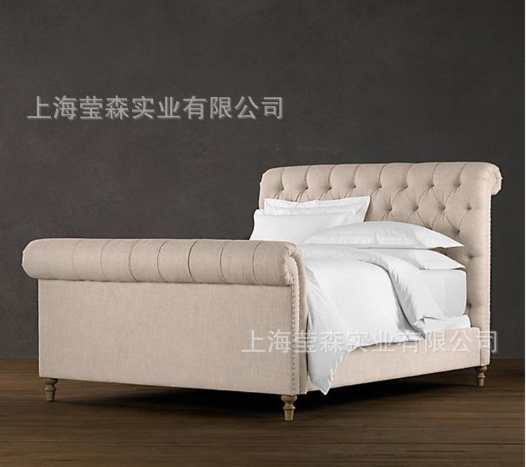床类-出口布艺原单外贸床高档美式软床床乡村家具广东办公代理图片
