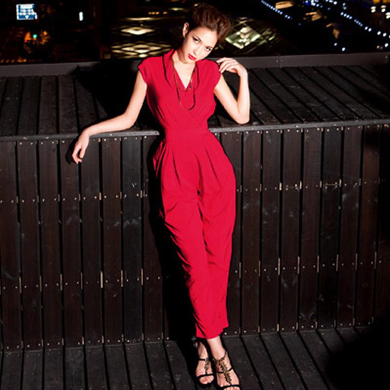 204欧美新款性感修身 唯美时尚欧美气质交叉V领连体裤