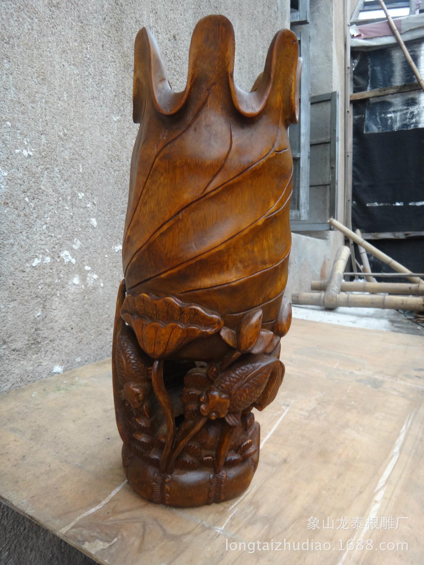 民间手工雕刻工艺品 象山竹根雕 金鱼花插摆件 礼品 -手工雕刻工艺品