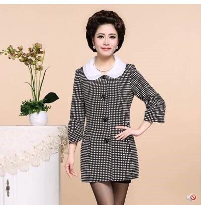 2014新款优雅中老年女风衣中长款 中年女装妈