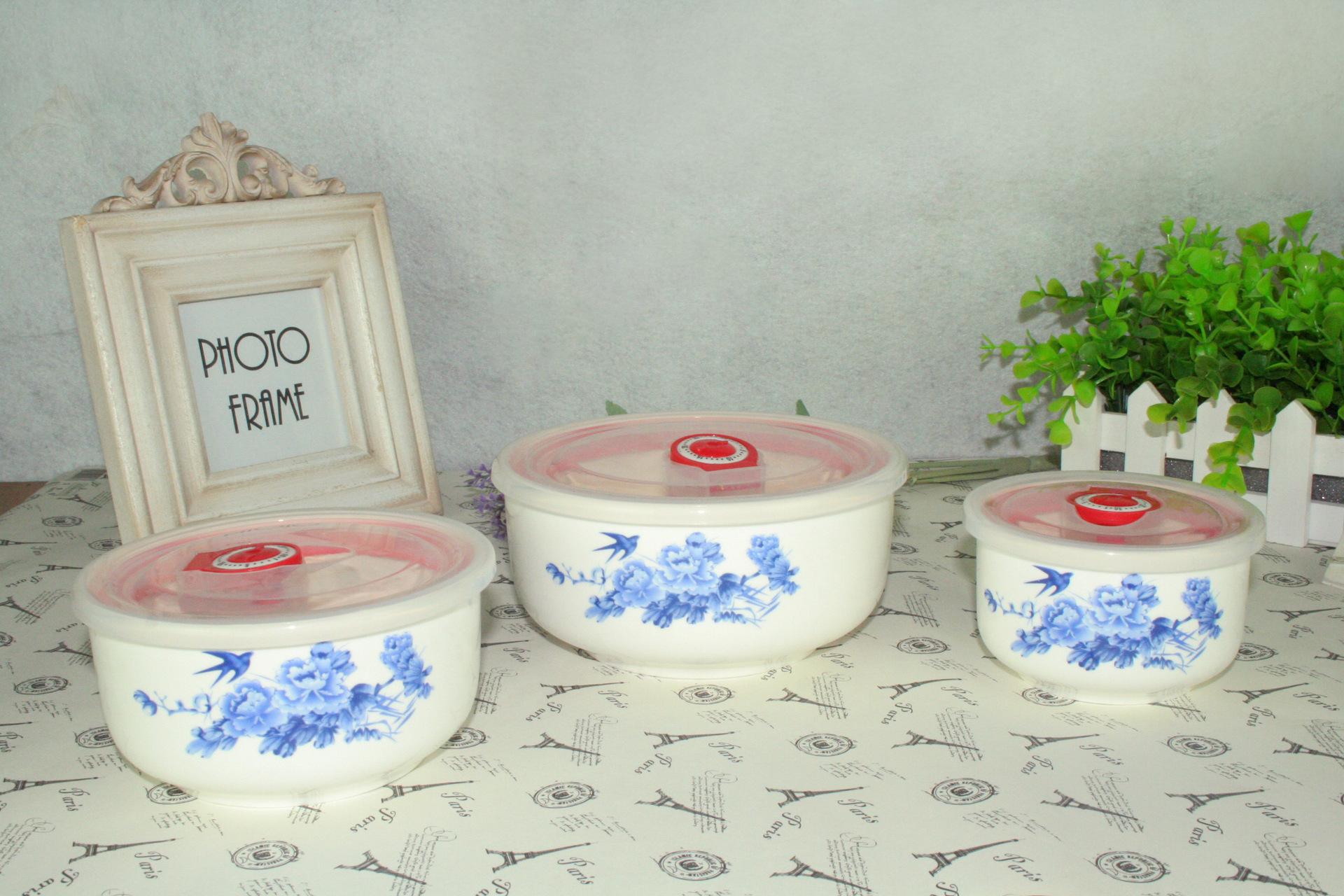 厂家直销骨瓷保鲜碗三件套微波炉陶瓷饭盒保鲜盒瓷碗保鲜餐具国色