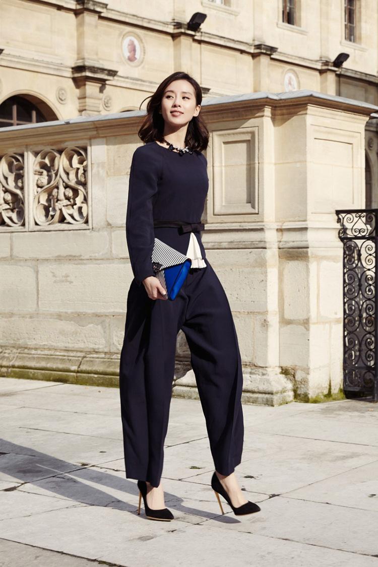 刘诗诗同款2014欧洲站大牌时尚OL气质休闲女百褶套装长袖 长裤装