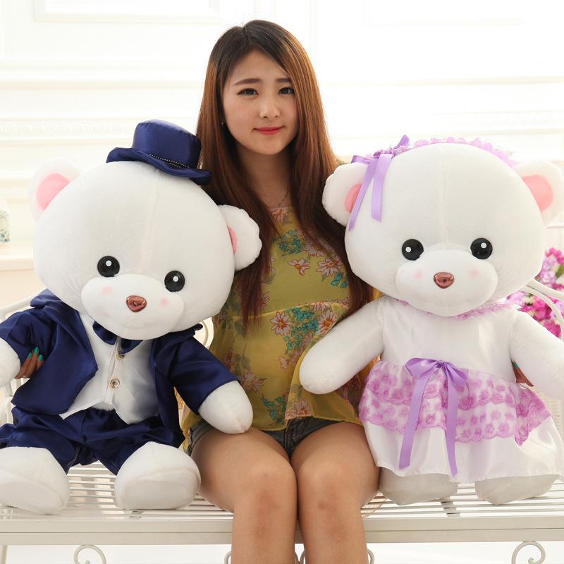 可站立大号婚纱泰迪熊婚庆娃娃压床娃娃结婚公仔布娃娃毛绒玩具